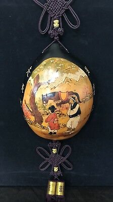 Vintage Asian Hand-painted Carved Shell/Nut Wall Hanging - RARE - Antique