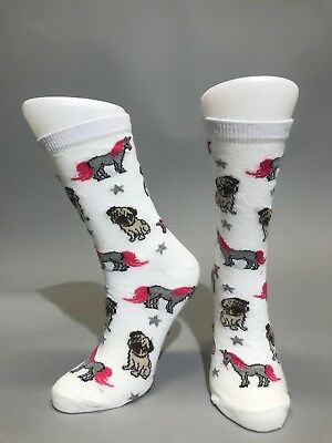 Ladies Womens Cotton Pug Unicorn Design Funky Socks Everyday Use 4-7 Dog Lovers