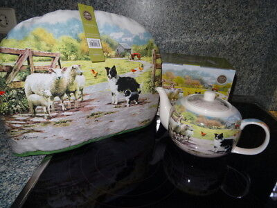 Teekanne + Kannenwärmer Collie Sheep, Schafe und Hunde Leonardo-Collection, neu!