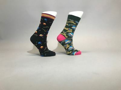 Ladies Womens Cotton Rich Galaxy Ufo Design Funky Socks Everyday Use Size 4-7