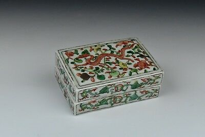 Antique Chinese Porcelain Wucai Box 17th / 18th Century