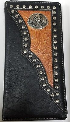 Rodeo Men Wallet Western Bifold Check Book Style 66-52 CowbowSkull Leather Black