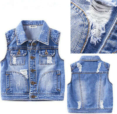Retro Kids Boys Distressed Ripped Denim Vest Jacket Waistcoat Sleeveless Coat