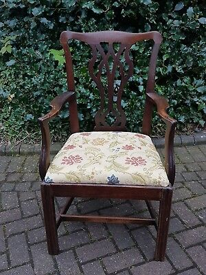 Georgian Mahogany Chippendale Style Arm Chair with Tapestry Print, Drop in Seat