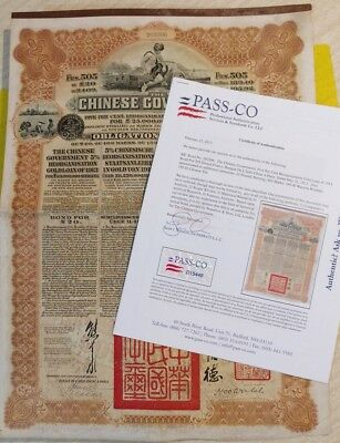 Chinese 1913 Government GOLD Reorganisation 20 Pounds 43 Coups PASS-CO Bond Loan