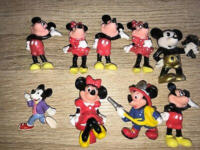 Collection Of 9 Disney Mickey, Minnie Mouse Plastic Figures