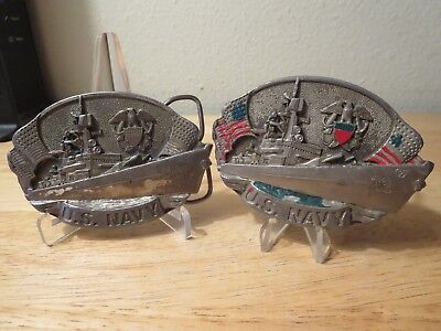 US Navy Military War Ship American Eagle Belt Buckle lot of 2 1981 Made in USA