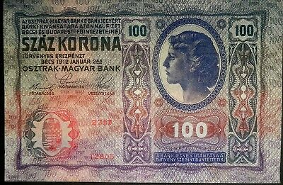 #B42a  -   Austria 100 Korona 1912 Paper Currency Money Bank Note Antique Bill