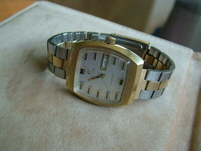 All Original Large Mens Vintage Elgin Swiss Automatic Two Tone Watch Day Date NR