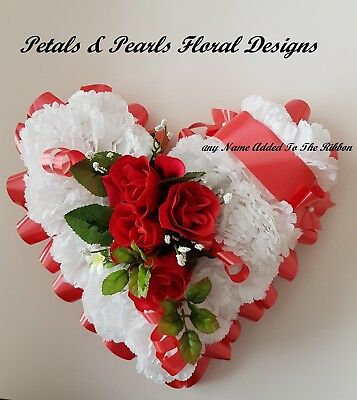 Heart Shaped Artificial Silk Flowers Funeral Wreath Memorial Grave Tribute