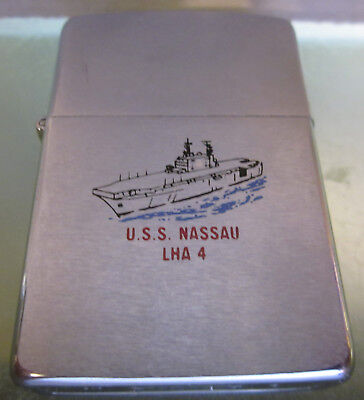 ZIPPO LIGHTER 1987 USS NASSAU LHA 4 DOUBLE SIDED Great Condition