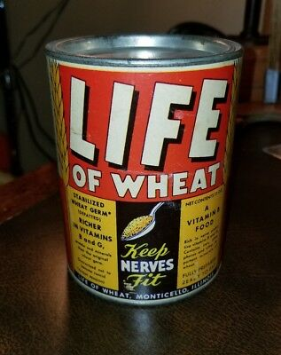 VINTAGE EMPTY 1920s LIFE OF WHEAT CEREAL PAPER LABEL TIN