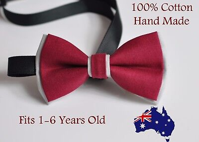 Boy Kids Baby Cotton Rumba Red Grey Bow Tie Bowtie Party Wedding 1-6 Years Old