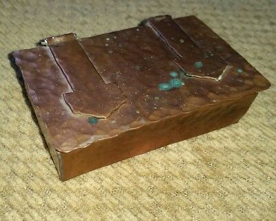 arts & crafts hand hammered beaten solid copper stamp box mission antique little
