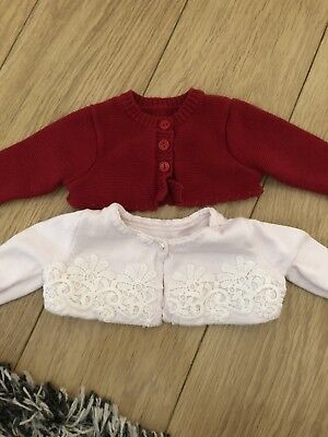 Baby Girls Mothercare Newborn 2x Cute Cardigans Pink & Red