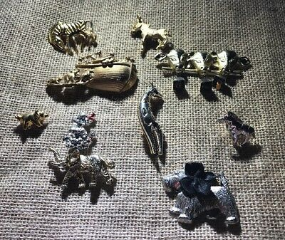 Lot of 10 Vintage & Modern Animal Pins Brooches Metal - Donkey Zebra Cow  L0