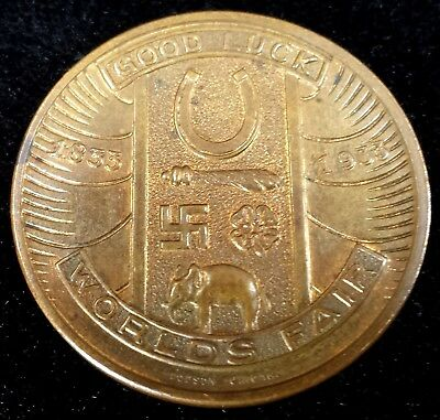 1933 Chicago World's Fair A Century of Progress Swastika Good Luck Token