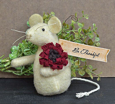 "Primitive Little Fabric ""Be Thankful"" Mouse - Thanksgiving"