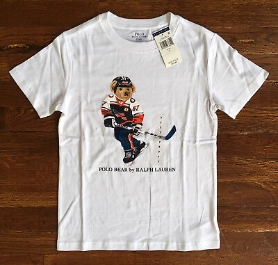 $25 NWT Polo Ralph Lauren Boys Kids Hockey Bear White T Shirt LIMITED EDITION