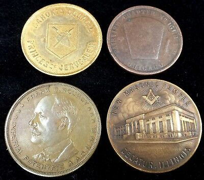 Lot of 4 Masonic Penny Coins Tokens Decatur, Chicago & East St. Louis, IL