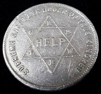 Vintage Encoded Masonic Supreme Conclave Order of True Kindred Penny Coin Token