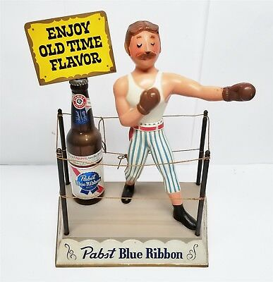 S89 VINTAGE PABST BLUE RIBBON OLD TIME FLAVOR BOXER IN RING COUNTER SIGN 11x7x16