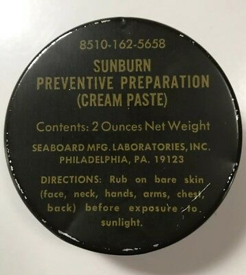 US Military Vietnam Surplus Sunburn Preventative Cream Paste