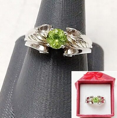 Vintage 925 Sterling Silver Peridot Gemstone Ring with Box, Size 10