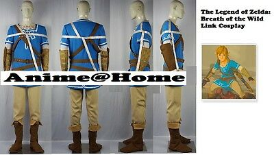 Top Quality The Legend of Zelda: Breath of the Wild Link Cosplay Costume S-XXL