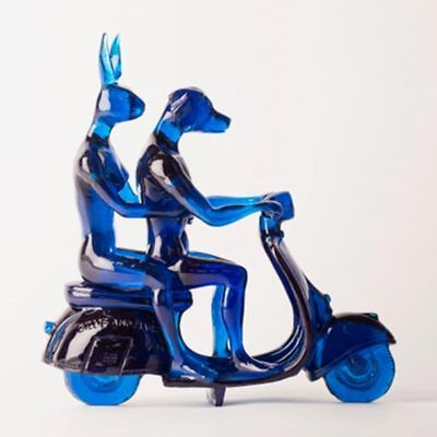 """GILLIE AND MARC. Direct from artists. """"Lolly Vespa Riders"""" resin blue sculpture"""
