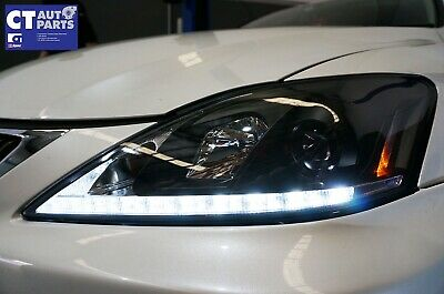 Lexus IS250 IS350 ISF Black LED DRL Day-Time Projector Head Lights Headlight