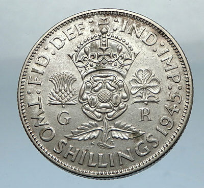 1943 United Kingdom Great Britain GEORGE VI Silver Florin 2Shillings Coin i66840