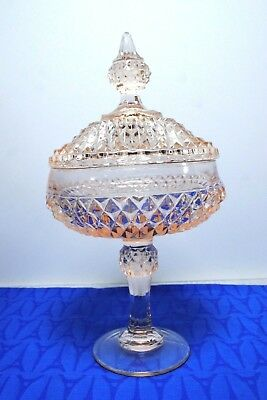 Vintage Pink Depression Hobnail Glass Lidded Compote Sweet Container  Exc!