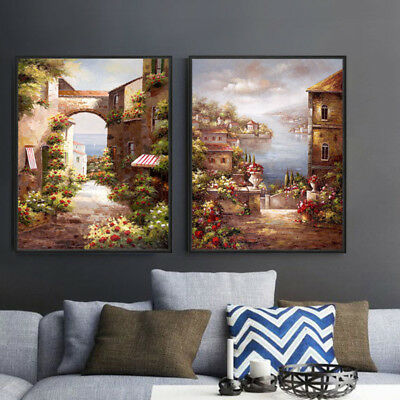 Oil Painting Canvas Print Set Digital Wall Art Retro Vintage Seascape Unframed