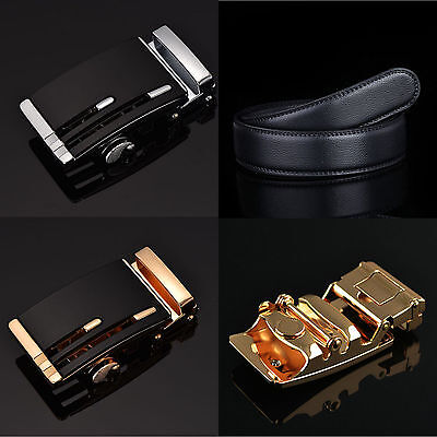 Men's Casual Genuine Leather Hollow Automatic Buckle Waist Strap Belt Waistband