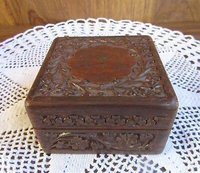 VINTAGE CARVED SQUARE WOODEN JEWELLERY TRINKET BOX w BRASS INLAY
