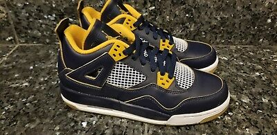 f90e2db934b9b0 2016 Nike Air Jordan 4 IV Retro BG SZ 6Y Dunk From Above Navy Gold 408452