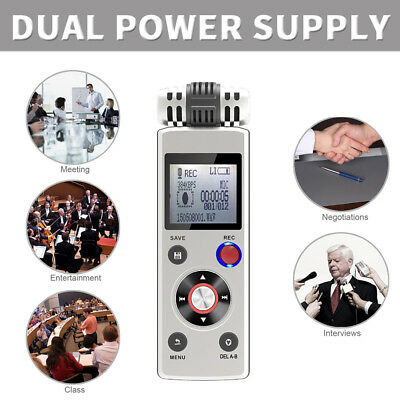 8GB Digital Audio Voice Activated Recorder Dictaphone Dual Power Supply MP3Play
