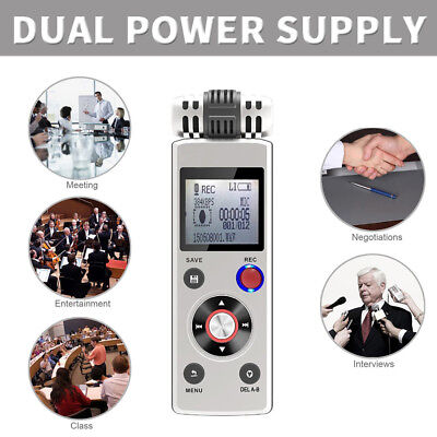Rechargeable 8GB Digital Voice Recorder Dual Power Supply Mp3 Player Portable