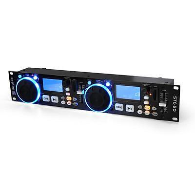 Double Controleur Dj Mp3 Console 2X Usb + Sd Pitch Bend Scratch Rackable 48Cm 2U