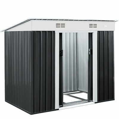 Garden Tool Shed Metal 6x4ft Outdoor Storage House Aluminium Base Store Steel