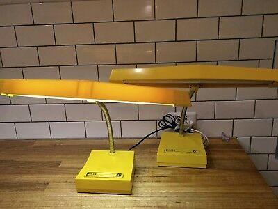 Set Of Two Retro Vintage Industrial Yellow Norax Gooseneck Desk Lamp