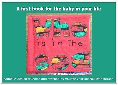 Babies First Cloth Book Pattern - Who is in the Sea? Includes covers & 10 pages.
