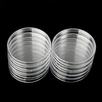 10X 55/60/70/90mm Sterile Plastic Petri Dishes Plate For Lab Bacterial Yeast EU