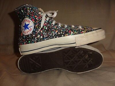 Vintage Converse Paint Splatters Hi Tops Made In Usa Size 8.5 Mens Extra Stitch