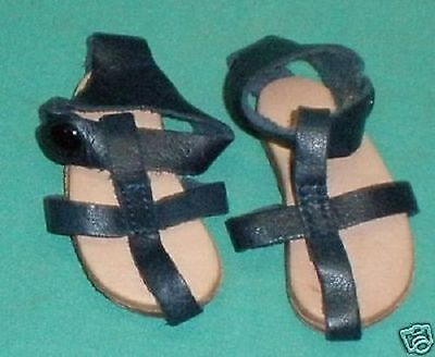 Puppensandalen Leder dunkelblau 6 cm/ doll sandals blue leather 6 cm