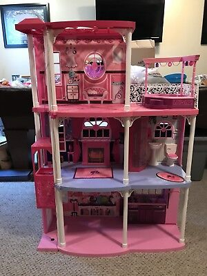 Barbie 3 Story Dream Townhouse Doll House W Elevator Accessories