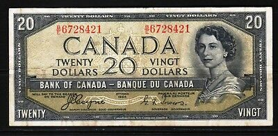 "Canada - 1954 Bank of Canada 20 Dollar  P70a Fine Condition QEll ""DEVIL's FACE"""