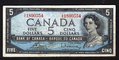 Canada - 1954 Bank of Canada 5 Dollar Banknote P77c  aVF Condition QEll