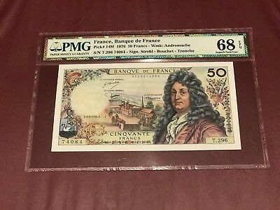 FRANCE FRENCH 50 FRANCS RACINE 1976 PMG 68 SUPERB GEM UNC Pick 148f Rare